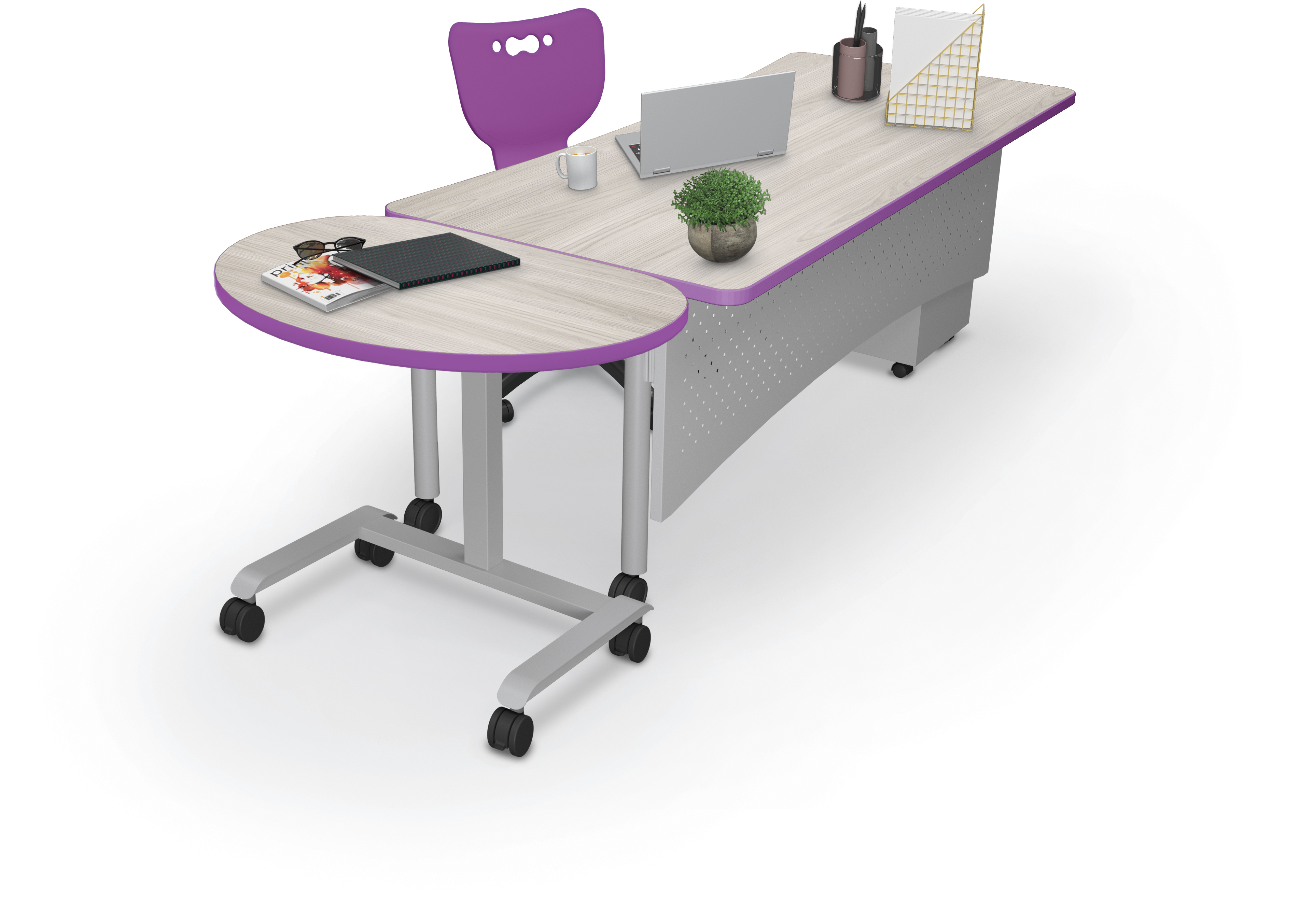 • Avid Modular Desk 7230 Table + Pneumatic End Table w-Props w-Hierarchy 5-Star Chair Master