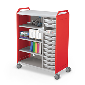 Compass Maxi H3 Cabinet w-Handles No Doors Shelves + Totes w-Props Angle 1 - red - overlay straight