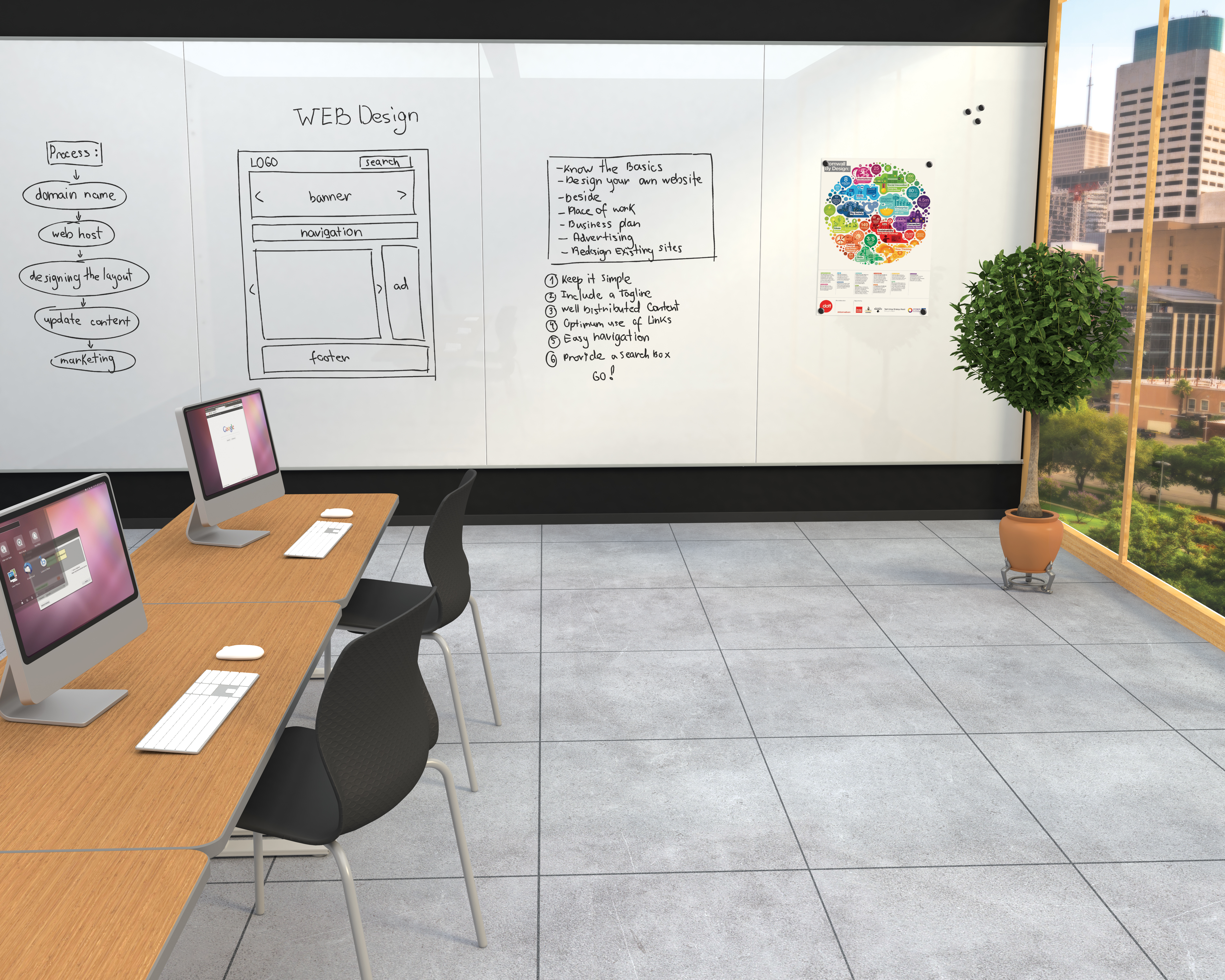 Unity Glass Wall Commercial Enviro w-Seed Chairs