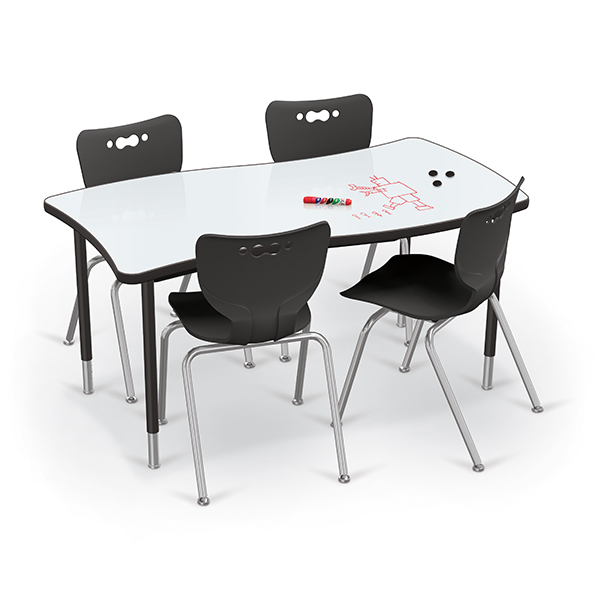 creator_tables_rectangle_3-4_angle_black_legs_black_edgeband_dry_erase_porcelain_top_w-hierarchy_4-leg_chairs_black_w-props