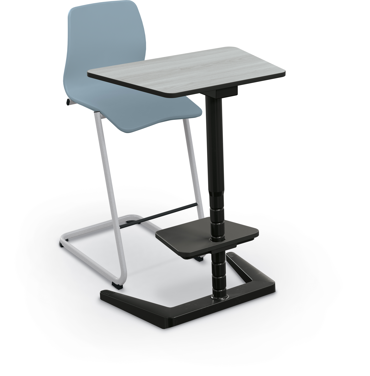opti desk trap tall 3-4 angle gray elm black edgeband and frame w-opti chair tall light blue